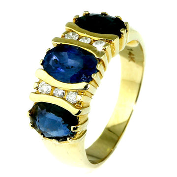 Trilogy Blue Sapphire Diamond Ring