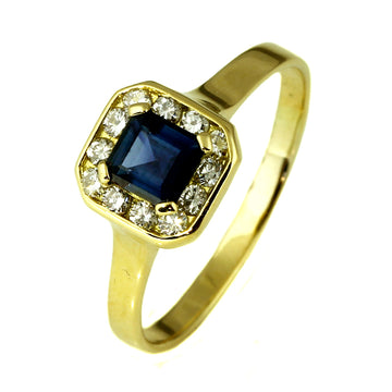 Square Cut Blue Sapphire Diamond Ring- What Women Want Jewellers