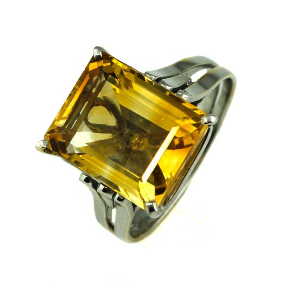 Large Golden Citrine Ring