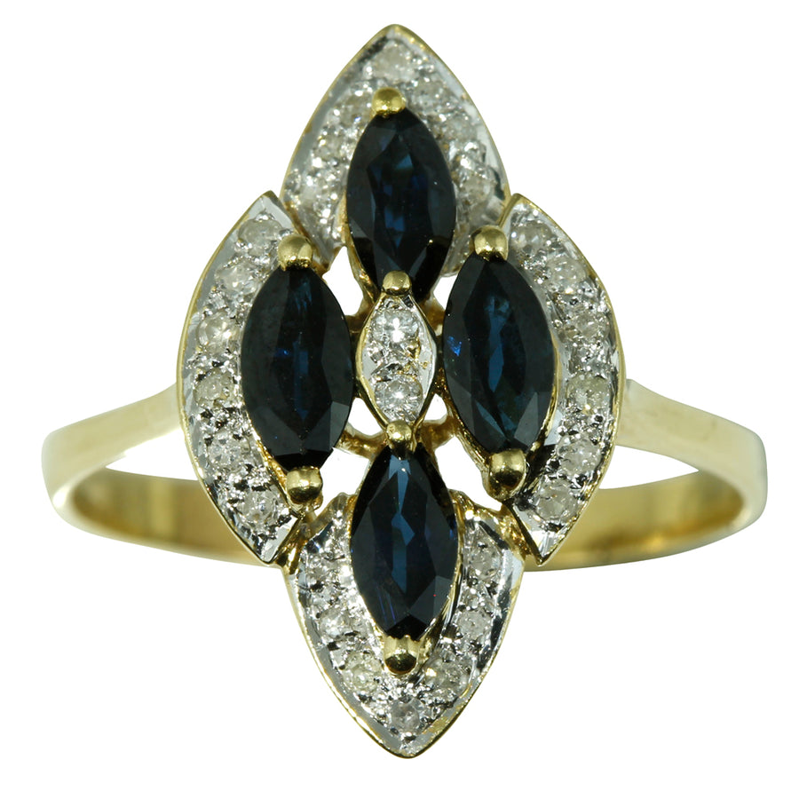 Hexagonal Blue Sapphire Diamond Ring
