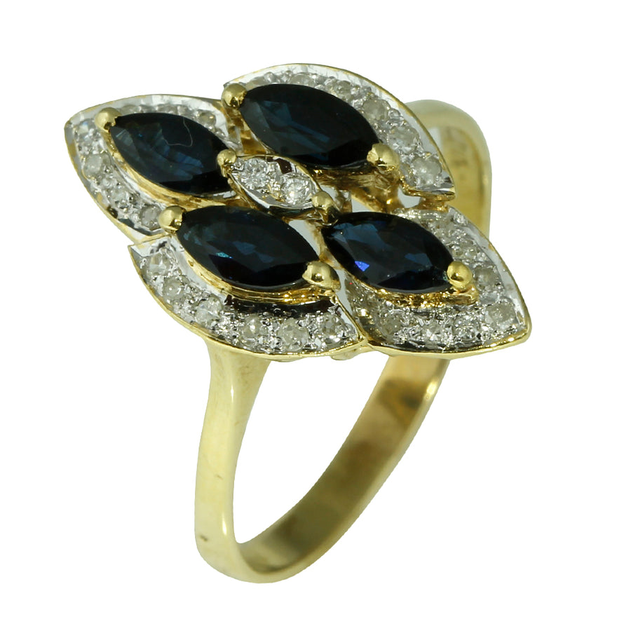Hexagonal Blue Sapphire Diamond Ring - What Women Want Jewellers