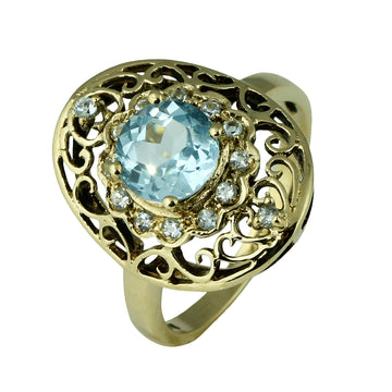 Oval Dress Ring with Blue Topaz