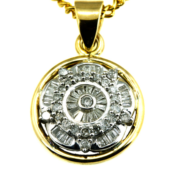 Circular gold pendant with diamond daisy cluster - What Women Want Jewellers