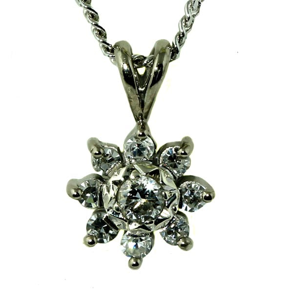 White Gold Diamond Flower Pendant - What Women Want Jewellers