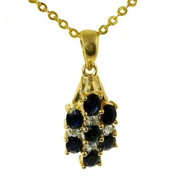 Oval Sapphire and Diamond Gold Pendant - What Women Want Jewellers