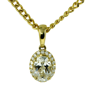 Oval White Topaz and Diamond Pendant - What Women Want Jewellers