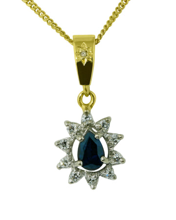 Pear Shape Sapphire and Diamond Pendant - What Women Want Jewellers