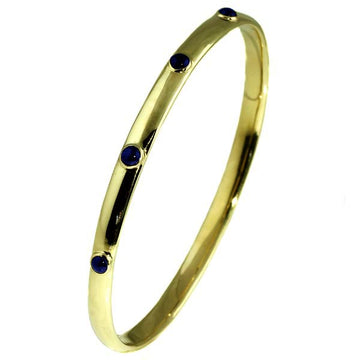 Handmade Oval Gold Bangle with Sapphire - What Women Want Jewellers