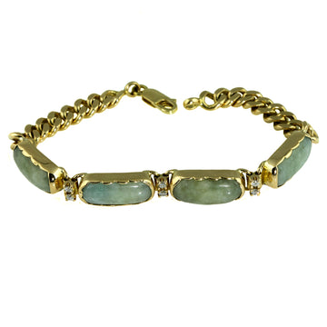 Natural Jadeite and Diamond Gold Bracelet