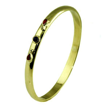 Handmade Oval Gold Bangle with Ruby and Sapphire - What Women Want Jewellers