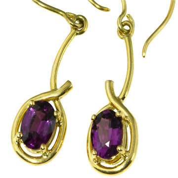 Purple Umbalite Garnet Gold Earrings