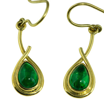 Green Tsavorite Garnet Gold Earrings