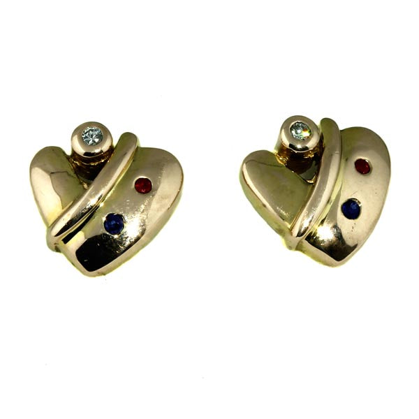 Heart Sapphire Ruby Diamond Studs - What Women Want Jewellers