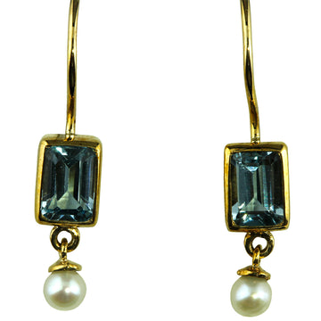 Blue Topaz and Pearl Earrings - What Women Want Jewellers