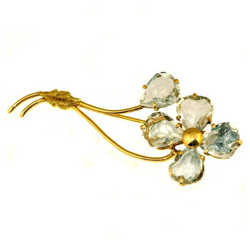 Flower Aquamarine Gold Brooche