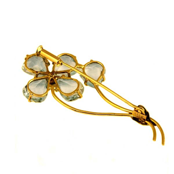 Flower Aquamarine Gold Brooche - What Women Want Jewellers