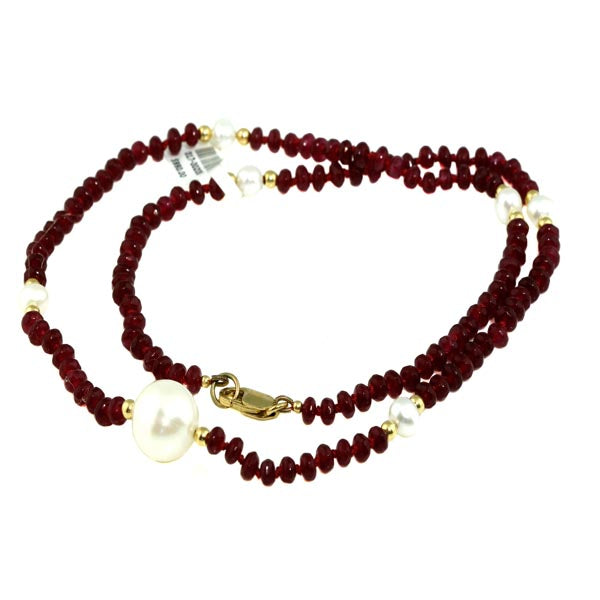 Ruby Beads and Pearl Gold Necklace - What Women Want Jewellers