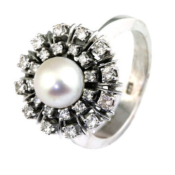 Akoya pearl and diamond cluster ring