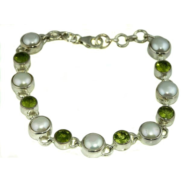 Cultered Pearl and Peridot Silver Bracelet