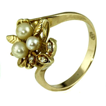 Vintage Pearl and Diamond Gold Ring