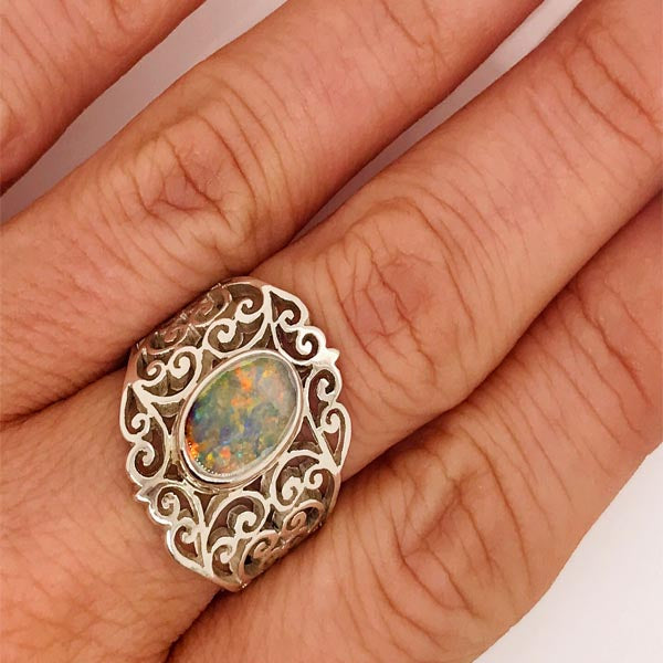 Australian Solid White Opal Silver Ring