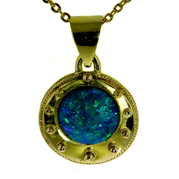 Autralian Black Opal Pendant, Australian Opal Pendant, Opal Gold Pendant, What Women Want Jewellers