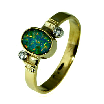 Australian Solid Opal Ring, Australian Opal, Green and Yellow Opal Ring, Australian Black Opal Ring, What Women Want Jewellers