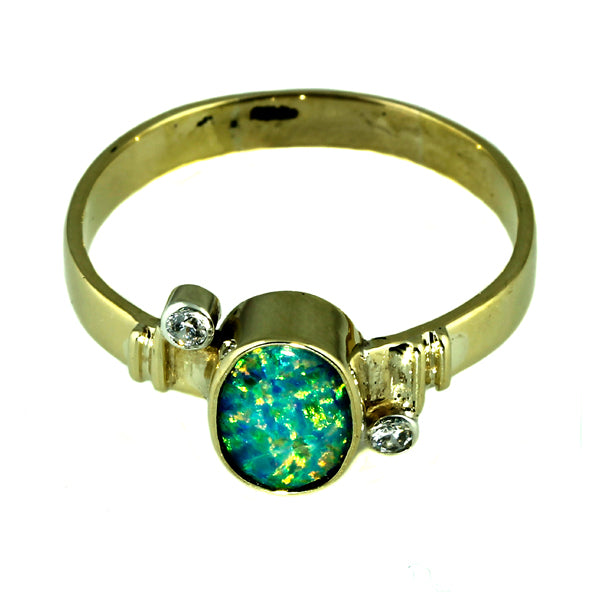 Australian Opal and Diamond Gold Ring
