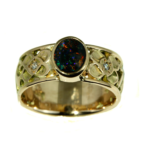 Red Australian Solid Black Opal and Diamond Ring