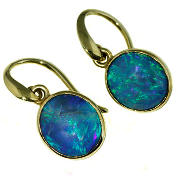 Solid Australian Opal Earrings from Lightning Ridge