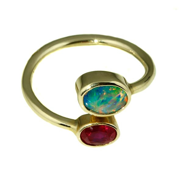 Australian Black Opal Ruby Ring - What Women Want Jewellers