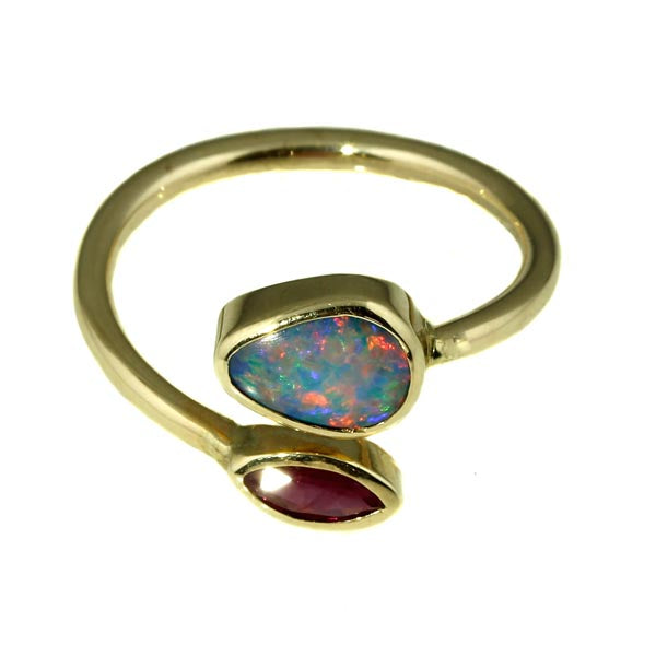 Australian Black Opal and Ruby Ring
