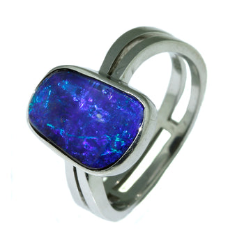 Australian Boulder Opal Ring, Blue Boulder Opal Ring, Blue Solid Opal Ring,  Australian Solid Blue Opal Ring, What Women Want Jewellers