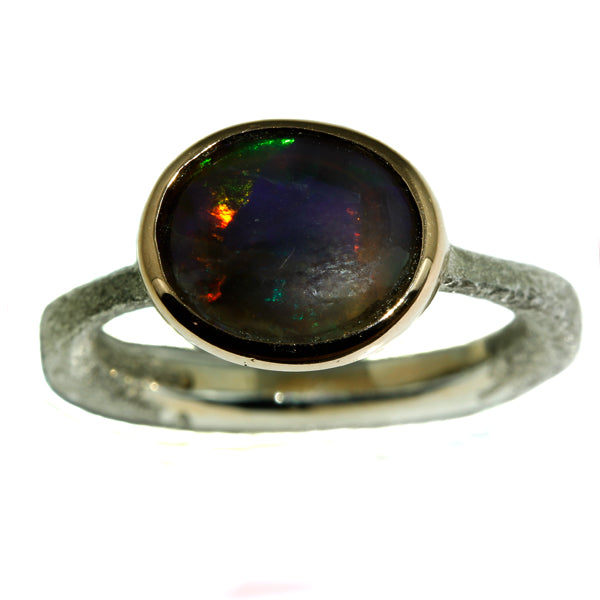 Red and Blue Australian Solid Opal Ring