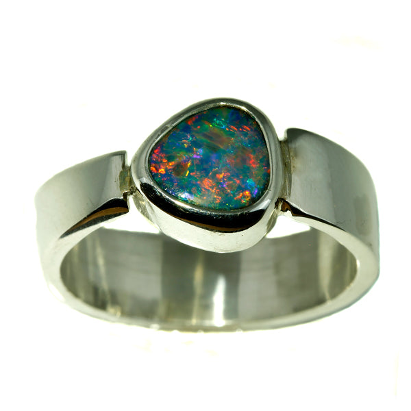 Red Yellow Blue and Green Australian Opal Silver Ring