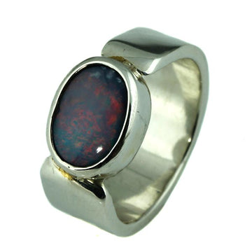 Red and Blue Australian Solid Opal Silver Ring