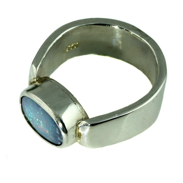 Red and Blue Australian Solid Opal Silver Ring - What Women Want Jewellers