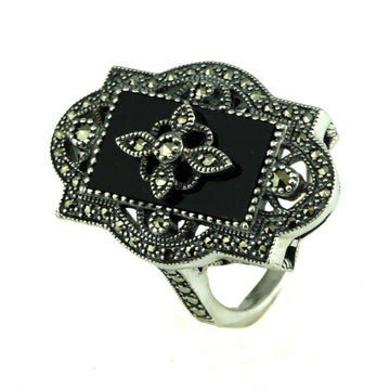 Marcasite onyx pearl silver ring - What Women Want Jewellers
