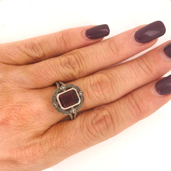 Silver Marcasite and Garnet Ring - What Women Want Jewellers