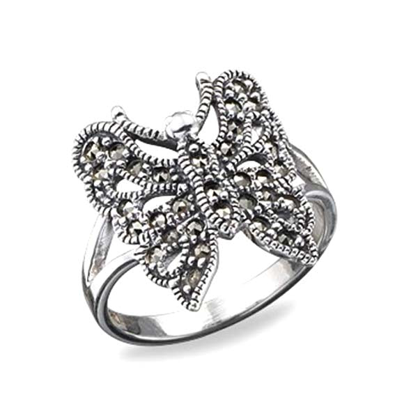 Silver marcasite butterfly ring - What Women Want Jewellers
