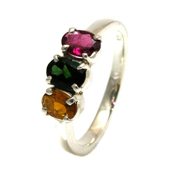Red, green and golden Tourmaline Sterling Silver Ring - What Women Want Jewellers