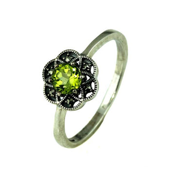 Green Peridot Marcasite Silver Ring - What Women Want Jewellers