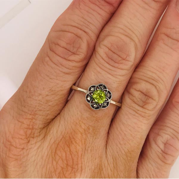Green Peridot Marcasite Silver Ring