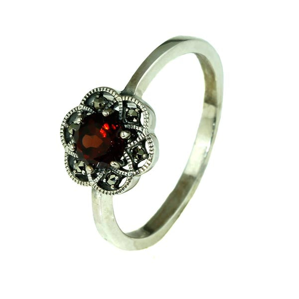 Red Garnet Marcasite Silver Ring - What Women Want Jewellers