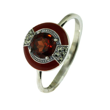 Ladies Garnet with Enamel Silver Ring - What Women Want Jewellers