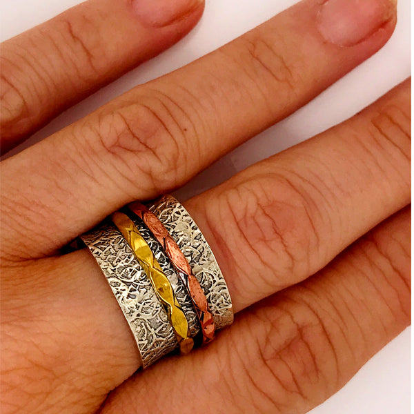 Three Colour Meditation Spinner Ring-What Women Want Jewellers