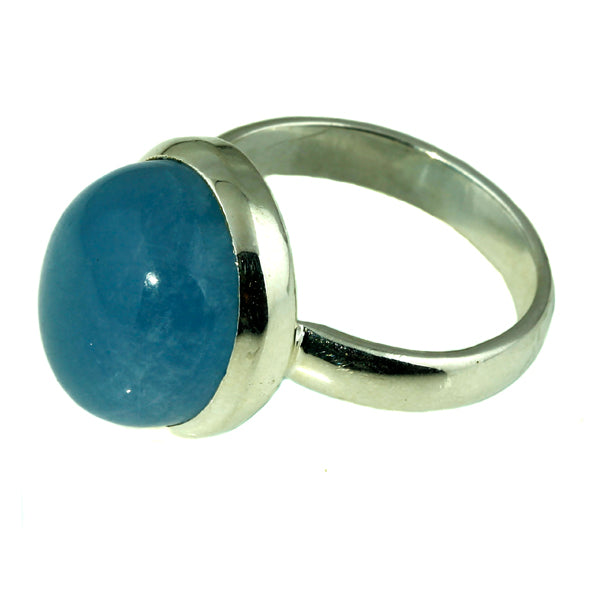 Oval Aquamarine Silver Ring