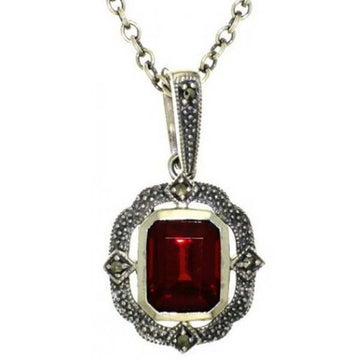 Silver marcasite and garnet necklace - What Women Want Jewellers