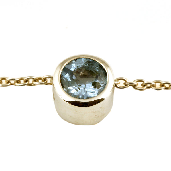 Silver Blue Topaz Donut Slider Necklace - What Women Want Jewellers