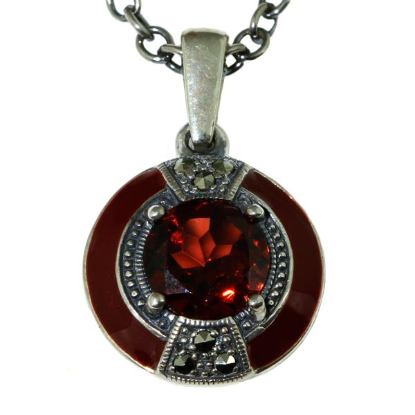Ladies Garnet with Enamel Silver Necklace - What Women Want Jewellers